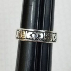 Sterling SILVER Irish Claddagh Wrapping Wide Band